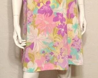 Vintage 1960's Purple Tropical Print Nylon Babydoll Nightie by Lorraine- Hawaiian!