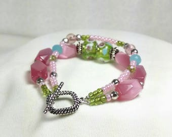 Pink Bracelet, Green and Pink Bracelet,. Pastel Glass Beaded Bracelet, Two Strand Bracelet, Summer, Birthday Gift