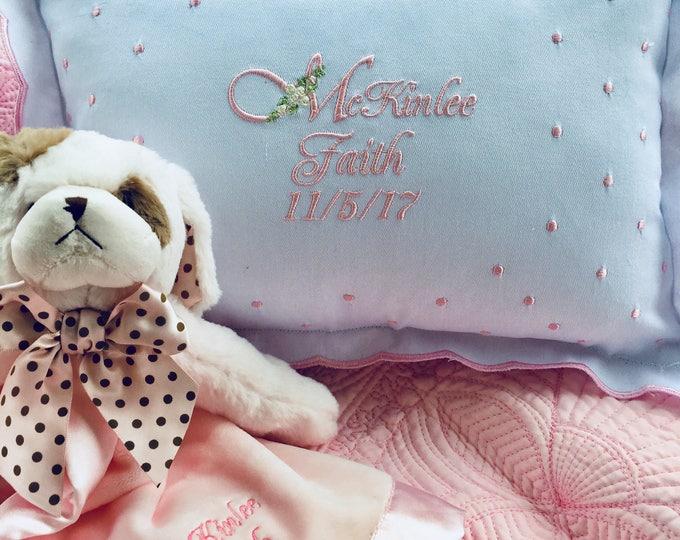 Baby Girl Gift Set, Personalized Swiss Dot Baby Pillow Plus  Bearington Baby Snuggler , Newborn Gifts, BabyShower Gifts
