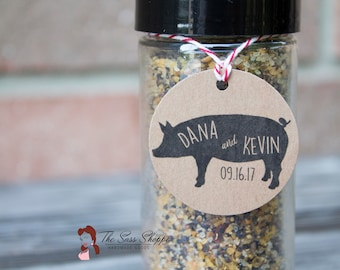 """Pork Rub or Seasoning Favor Tag for Rustic, Country, Woodland, Camo, or Outdoor Wedding or Shower, or Backyard BBQ  - 1.5"""" Diameter"""
