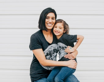 Matching Tees Moon Shirts, Mommy and Me Outfits, Son Daughter Mother Gift, Mother's Day Gift, New Mom Gift Kids Baby Toddler Tshirts, Black