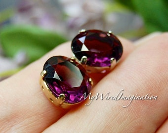 Transparent Amethyst, Swarovski Crystal, Deep Purple,12x10mm Oval, Crystal Sew On, Article 4120, February Birthstone, Swarovski in Setting
