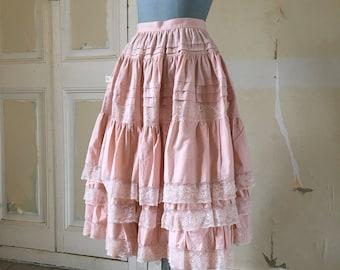 Pink old cotton ruffle skirt