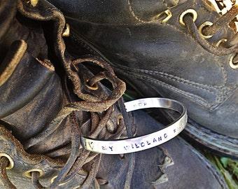 The original I Love My Wildland Firefighter Cuff Bracelet- Firefighter Support Jewelry-Wildland Fire Jewelry