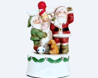 Christmas Music Box, Porcelain Music Box, Santa Claus Music Box,  Santa Claus Is Coming To Town Music Box, Holiday Music Box, Ron Gordon