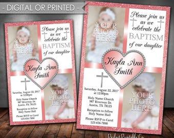 Pink Baptism Invitation, Pink Christening Invitation, Girl Baptism Invitation, Invite, Pink Glitter, Photo Invitation, Digital Printed #644