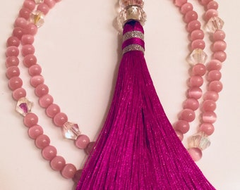 Pink Cats Eye Mala Necklace