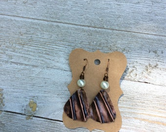 Guitar Pick Patina Earrings, Boho Style Earrings, Patina Earrings