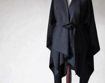 Wool poncho, graphite poncho, graphite coat, woman coat, wool coat, woman poncho, woman cape, woman jacket, wool sweater, wool jacket