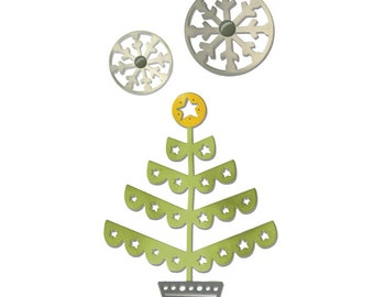 Sizzix - Thinlits Die Set 3PK - Christmas Tree & Snowflakes by Debi Potter