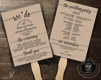 Wedding Program FAN PDF template, instant download editable printable, Ceremony order card in rustic theme, fan (TED410_2F)
