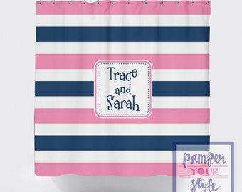 Striped Personalized Shower Curtain - Pink and Blue Monogrammed Shower Curtain - Jack and Jill Shower Curtain