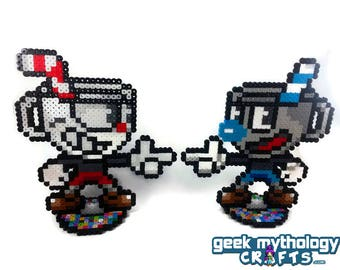 Cuphead and Mugman - Perler Bead Sprite Pixel Art Figure Stand or Lanyard Necklace