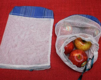 Set of 2 small reusable produce bags.  Fabric produce bags.  fruit and vegetable bags.  zero waste produce bags.  recycled fabric bags.