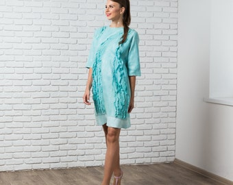Minimalist Dress, 80s Dress, Nuno Felt Dress, Shift Dress, Loose Fitting Dress, Mint Green Dress, Layered Dress, Sexy Mini Dress, Club Dress