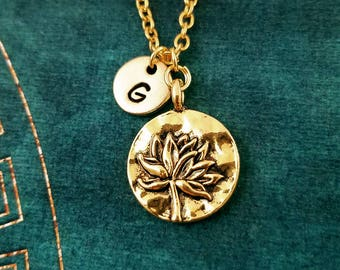 Lotus Necklace SMALL Lotus Flower Necklace Charm Necklace Pendant Necklace Yoga Jewelry Meditation Jewelry Buddhist Jewelry Hindu Jewelry