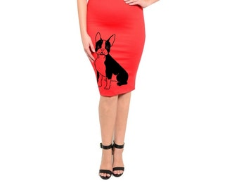 Womens Dog Skirt Plus Size Clothing 2XL Pin up Cute Dogs Pencil Skirts screen printed Retro dress 3XL French bulldogs Women's Clothing