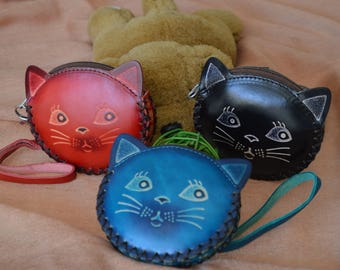 Beauty kitty face design, genuine leather coin purse, jewelry holder, a unique gift for all.