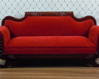 Dollhouse Miniature furniture in twelfth scale or 1:12 scale; Victorian sofa/couch.  Mahogany and red velvet upholstery.  Item #125.