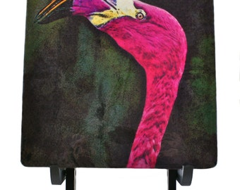 "Pink Flamingo Vibrant Bird 6"" Art Tile with Wooden Display Easel"