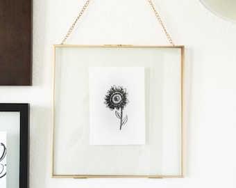 Fall Sunflower Illustrated Print