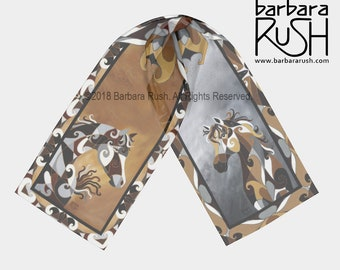 Arabian Horse Scarf, Horse Scarf,  Brown and Grey Arabian Horse Scarf, Painted Horse Scarf, American Paint Breed
