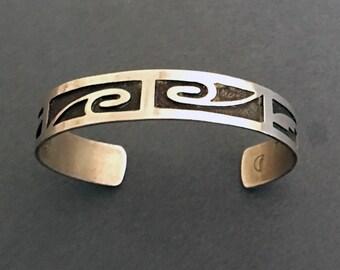 Hopi Cuff Bracelet, Sterling Overlay, Signed by the Artist, Vintage, Old Pawn