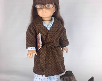 Brown Circles Robe - 18 Inch Doll Clothes, AG Doll Robe, Handmade Robe for American Girl or Our Generation Dolls