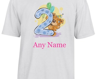 Personalised 2nd Birthday T Shirt  *Choice of name colours*