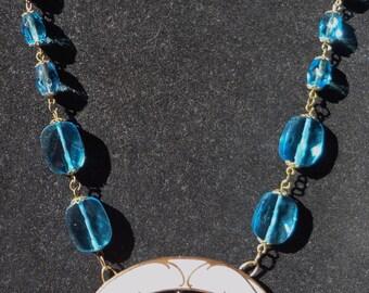 Antique Art Nouveau Enamel Necklace--Turquoise Lily