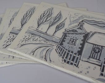 Handmade Lino print 'Winter Cottage' Christmas Card design - Blue