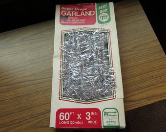 Vintage Silver Tinsel Christmas Tree Garland 60 Ft X 3 In. Woolworths