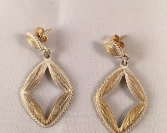 Vintage Brushed White & Gold Earrings
