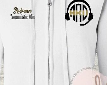 Monogrammed Ladies/Unisex Full-Zip Hooded Sweatshirt 911 Dispatcher Customized Personalized XS - 5XL Jacket
