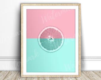 Lemon print Citrus Fruit wall art kitchen poster Pink turquoise Digital printable Instant Download