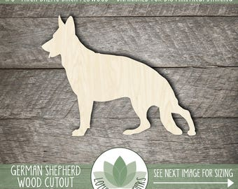 German Shepherd Wood Cut Out Shape, Unfinished Wood German Shepard Laser Cut Shape, DIY Craft Supply, Many Size Options, Blank Wood Shapes