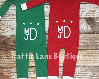 Baby's Monogram One-Piece Holly Jolly Pajamas with a Flap Butt for Girls and Boys