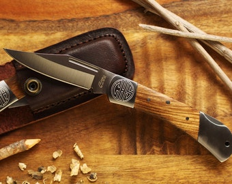 Engraved Pocket Knife with Leather Sheath and Free Gift Bag - Personalized Groomsmen Gifts - Engraved Wedding Date -Anniversary Gift For Men
