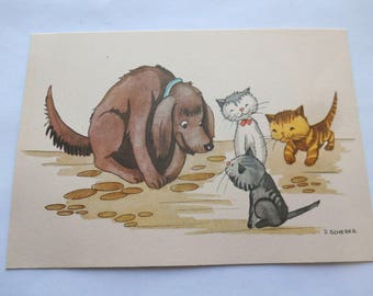 Vintage Kittens Playing With Dog By J. Scherer Netherlands Postcard