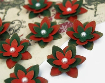 Red and Green Flower Embellishments Christmas scrapbooking cardmaking