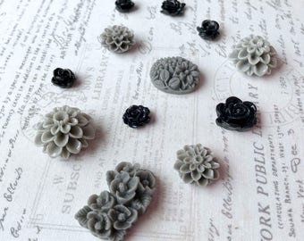 Grey Flower Magnets, Very Strong Magnets, Black Flower Magnets, Magnets, Flower Magnets, Decorative Magnets, Floral Magnets, Kitchen Fridge