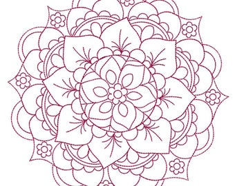 Mandala Medallion Redwork - Machine Embroidery Design