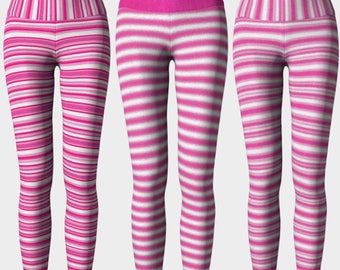 iWANT PINK: Workout Pants Leggings High Rise Yoga Crossfit Pink Stripes Run Crossfit Barre