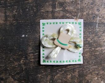 Vintage St Patrick's Day Chenille Shamrock Lapel Pin