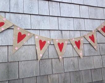 Heart Banner, Valentines Day Decor, Valentines Day Garland, Valentines Bunting, Heart Garland, Photo Prop, Polka Dots, Burlap Hearts