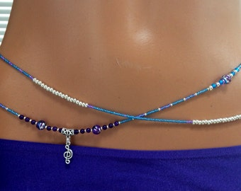 """The """"Jazz"""" Amethyst and Glass Double (2) Strand Waistbeads in Blue, Silver and Purple with Musical Note Charm, Sterling Silver Clasp"""