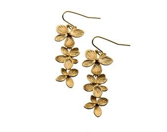 Triple Flower Earrings, Orchid Earrings, Dangle Earrings, Wedding Jewelry, Bridesmaid Jewelry, Mother's Day