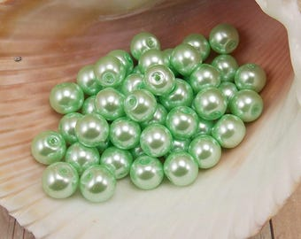 6mm Glass Pearls - Mint Green - 75 pieces