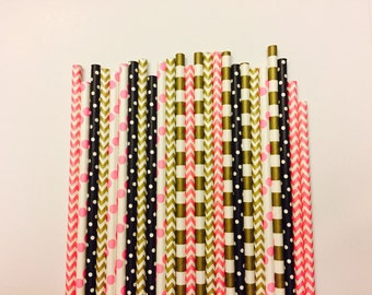Hot pink, Black, and Gold Paper Straws