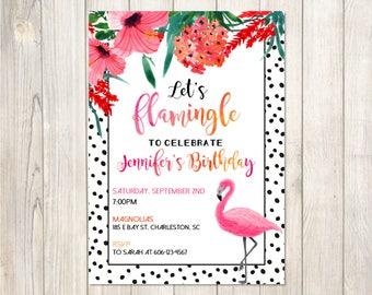 Flamingo Party Invitation Flamingo | Let's Flamingle Printable Birthday Party Invitation
